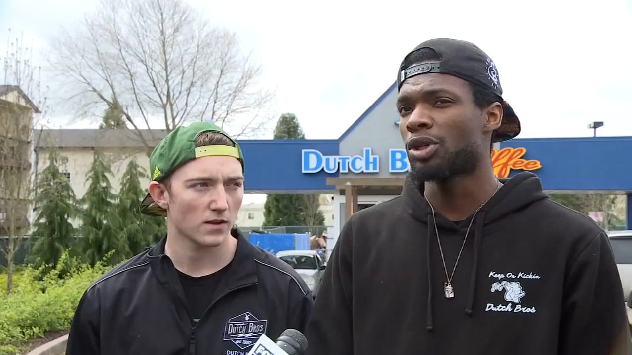 Two Dutch Bros. Employees Comfort Grieving Woman